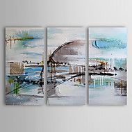 Handgeschilderde+AbstractModern+Drie+panelen+Canvas+Hang-geschilderd+olieverfschilderij+For+Huisdecoratie+–+EUR+€+154.49