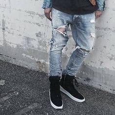 19.95$  Buy now - http://ali5xj.shopchina.info/go.php?t=32671898514 - ripped jeans for men punk rock pants slim fit skinny distressed denim pants mens punk rock broken hole biker slim fit jeans DM#6  #aliexpressideas