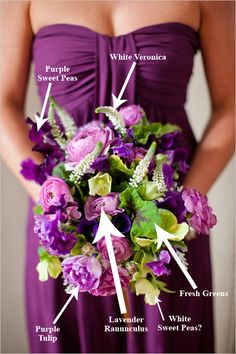 Breakdown of Bridesmaid Bouquet by Janie Medley