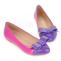 Sweet Casual Patent Leather Candy Color Block and Bowknot Design Women's Spring Flat Shoes