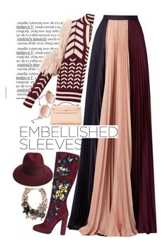 """Dagmar Deco Burgundy Cold Shoulder Varsity Sweater"" by esterp on Polyvore featuring Dagmar, Roksanda, Dsquared2, Hermès, Roberto Cavalli, Marc Jacobs, Justine Hats, hermes, robertocavalli and dsquared"