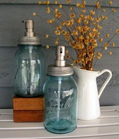 Hey, I found this really awesome Etsy listing at http://www.etsy.com/listing/77374758/blue-mason-jar-quart-soap-dispenser-with