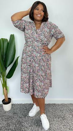 KAREN WRAP DRESS €42.99 Sizes 14-24 Wrap Dress Midi, Karen Black, Size 14, Plus Size, Ditsy, Half Sleeves, V Neck, Boutique, Model