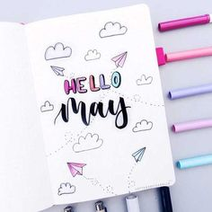 Hello May Bullet Journal Cover Spread. … – Hello May Bullet Journal Cover Spread. Bullet Journal Cover Ideas, Bullet Journal Banner, Bullet Journal Notebook, Bullet Journal School, Bullet Journal Themes, Journal Covers, Bullet Journal Inspiration, Journal Ideas, Bullet Journal Workout
