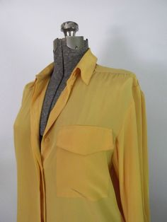 Yellow Silky Oversized Blouse Vintage 1980s Serge by rileybella123, $29.00