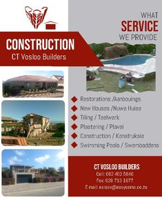 CT Vosloo Builders :)  Cell: 082 403 5940 Fax: 028 713 1677 Email: esiasv@easycoms.co.za Swimming Pools, Restoration, New Homes, Construction, Swiming Pool, Building, Pools
