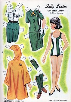 """Golden Magazine Paper Dolls: """"Sally Senior"""" by Neva Schultz, pub. July 1965 More Girl Scouts Girl Scout Uniform, Girl Scout Swap, Girl Scout Troop, Scout Leader, Paper Cutting, Girl Scouts Of America, Girl Scout Crafts, Paper People, Paper Dolls Printable"""