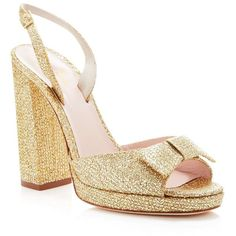 kate spade new york Briana Bow Platform High Heel Sandals ($378) ❤ liked on Polyvore featuring shoes, sandals, gold, gold glitter sandals, disco platform shoes, gold platform sandals, high heel sandals and gold platform shoes