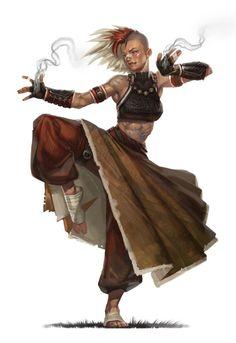 Monje luchadora del templo de Isteroth. Se hace llamar Asha puños humeantes, es descendiente de los últimos semimagos y es una de las guardianas del templo de los espiritus. Su sello en forma de brazalete endurece la piel de sus puños, pies y rodillas convirtiendolos en armas tan resistentes como el metal, un efecto secundario de este sello es el humo que desprenden sus manos continuamente. (Rosa)