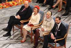 (L-R) Norway's King Harald, Queen Sonja, Crown Princess Mette Marit, and Crown Prince Haakon attend the Nobel Peace Prize ceremony, at the City Hall in Oslo