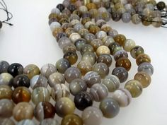 Genuine Botswana agate 10mm beads, Natural agate round beads, Boho chic jewelry making by Susiesgem on Etsy