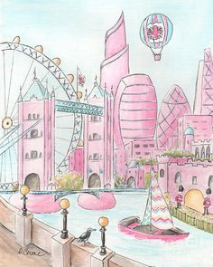 New york city art poster for girls travel themed bedroom nyc pink london skyline and london eye painting by debbie cerone negle Choice Image