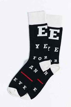 Eye For An Eye Sock - Urban Outfitters | Snellen Chart for vision | #eyeglasses | #glasses