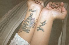 #tattoo #faith #wrist #birds #cage