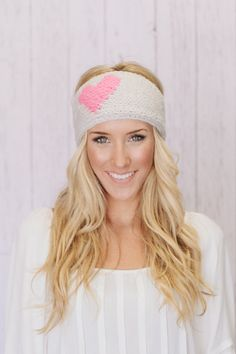 Heart Knitted Headband LOVE Knitted Ear Warmer Women's and Girl's Cozy Brushed Acrylic and Button Ear Warmer Three Bird Nest (KBH-HEART01)