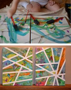 Tape on a poster board and paint! I love this!  We did this at our vbs, and it was very easy, and the kids loved it.  They were very creative.