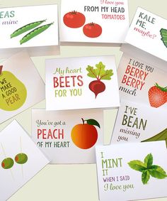 Love this Fruit & Veggies Love Puns Greeting Card Set on #zulily! #zulilyfinds