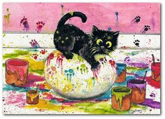Black Artistic Cat Painting Easter Egg Fun by DreamCatchingStudio
