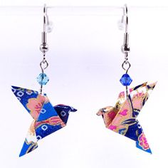 Boucles d'oreilles colombes origami bleues et roses - crochets inox