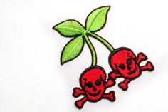 Rockabilly Skull Cherries / Iron-on Patch / Red Cherry Fruit / Skull Heads / Embroidery / Appliqué. $3.25, via Etsy.