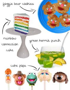 Perfect for a Muppet Birthday Party Love the green punch and rainbow cake!