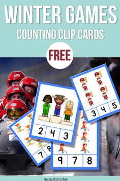 Free: Winter Competitive Sports Counting Clip Cards - Preschool Activities Nook - Winter Olympics Counting Clip Cards for preschool free printable. Are you looking for preschool act - Winter Olympic Games, Winter Games, Winter Olympics, Winter Activities, Math Activities, Free Preschool, Preschool Themes, Preschool Winter, Preschool Learning