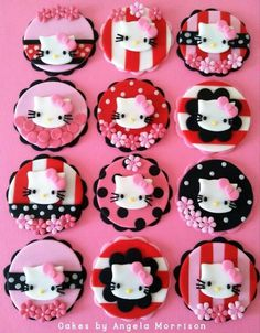 a-dorable! get some yourself some pawtastic adorable cat apparel! Hello Kitty Fondant, Hello Kitty Cupcakes, Cat Cupcakes, Wedding Cakes With Cupcakes, Baby Shower Cupcakes, Cupcake Party, Hello Kitty Theme Party, Hello Kitty Themes, Hello Kitty Birthday