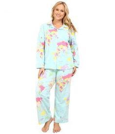 BedHead Plus Size Long Sleeve Classic PJ Set (Aqua Around The World) Women's Pajama Sets