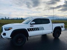 """All black - """"Back To The Future"""" side stripes (front & rear) — Taco Troopers Back To Black, All Black, Toyota Tacoma Trd Sport, American Flag Decal, Challenger Rt, Truck Decals, Slash, Toyota Trucks, Back To The Future"""