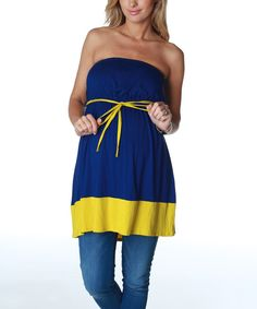 Take a look at this PinkBlush Maternity Navy & Yellow Maternity Tube Top on zulily today!