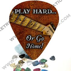 "A gift for the determined guitarist. "" Give it 100% or nothing at all. "" This ""Play Hard "" Giant Guitar Pick/ Wall Art  #1125 measures 11"" x 9-1/4""w x 1/8"" thick and comes ready to hang. $26.99"
