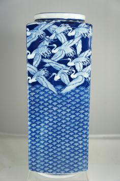 Vintage Porcelain Flower Japanese White Blue Rectangular Vase Cranes Birds | eBay