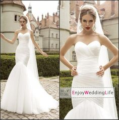 2015 New Sexy Sweetheart Tulle Mermaid Wedding Dresses Ruffles Court Train Spring Bridal Gowns BO7288, $156.03 | DHgate.com