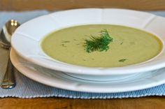 Creamy zucchini, walnut, and dill soup from Once Upon a Chef