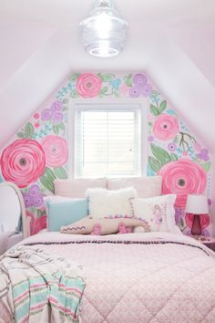 Today we are sharing the reveal of our girls room makeover, including our inspiration behind the design, the large hand-painted floral mural and a few design tips! Girls Bedroom Mural, Girls Room Paint, Kids Room Murals, Big Girl Bedrooms, Bedroom Murals, Little Girl Rooms, Bedroom Themes, Girl Bedroom Paint, Girls Room Purple