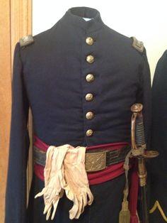 Civil War Pennsylvania Officer's White Linen Dress Gloves and frock