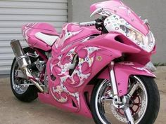 Louis Vuitton PINK motorcycle - WHAT? Maybe a TAD bit over the top but this is freakin awesome! Cars,Cars and stuff,Motorcycle,My Cars, Hot Pink, Pink Love, Pretty In Pink, Pink Purple, Pastel Pink, Moto Ninja, Yzf R125, Pink Motorcycle, Gsxr 1000