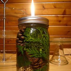 Mason Jar Oil Lamp~ This would be cool, in a different jar.