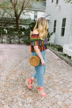 Rainbow Striped Crop Top Topshop High Waist Wide Leg Crop Jeans Rattan Round Bag Red Espadrilles Spring Summer Outfit Inspiration Jackie Giardina