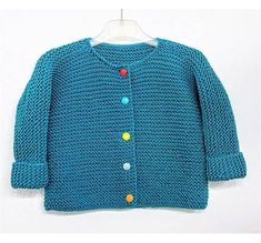 Baby / children's jacket knitted in one piece – Knitting Ideas Baby Knitting, Couture, Knitting Patterns, Kids Outfits, One Piece, Fabric, Sweaters, Cotton, Jackets