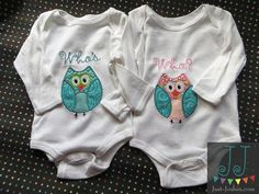 Who's Who Twins appliqué Boy or Girl Twin Set by JustJoshinKids, $40.00