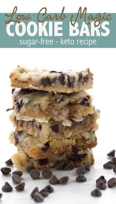 The ultimate low carb Magic Cookie Bars recipe. Made with sugar-free sweetened condensed milk, they are so ooey and gooey and only total carbs! ketorecipes magiccookiebars ketodesserts lowcarbhighfat sugarfree via 39265827986959101 Biscuits Keto, Cookies Et Biscuits, Low Carb Sweets, Low Carb Desserts, Stevia Desserts, Keto Friendly Desserts, Desserts To Make, Keto Cookies, Low Sugar Cookies