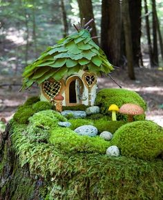 Fairy house on moss covered tree stump. The cottage roof is made of green leaves. Such a pretty miniature moss garden cottage. All the green is so woodland and calming. Fairy Garden Houses, Garden Cottage, Diy Garden, Gnome Garden, Garden Projects, Garden Art, Garden Design, Garden Tips, Garden Boxes