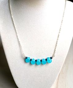 Sea Blue Briolette Necklace,Crystal Briolette Jewelry by ATouchofRomance on Etsy https://www.etsy.com/listing/230482181/sea-blue-briolette-necklacecrystal