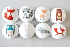 Woodland animal drawer knob/pulls. Available in 4cm, 4.6cm and 5.3cm - all are 3.6cm high. Painted in high quality Mylands of London Pure White. Woodland Animal themed artwork is printed onto professional microfilm decal paper and added to the drawer knob. All knobs/pulls are varnished 3 times with Mylands Satin Lacquer and can be wiped clean with a damp cloth. Supplied with M4 30mm screws. Longer screws are available if required. Sold in sets of 6, 8 and as a single knob/...