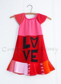 Courtney Courtney upcycled t-shirt LOVE dress for girls. Hers are the best anywhere.