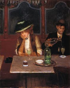 Jean Béraud (January 1849 – October was a French Impressionist painter and commercial artist noted for his paintings of Parisian life during the Belle Époque. Belle Epoque, Absinthe Drinker, Jean Beraud, French Impressionist Painters, Illustration Art, Illustrations, In Vino Veritas, Cultural, Western Art