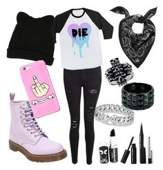 """Pastel goth #4"" by hello-poop-123 ❤ liked on Polyvore featuring Frame Denim, Dr. Martens, George J. Love, Marc by Marc Jacobs, Mia Sarine, David Yurman, Marc Jacobs, women's clothing, women's fashion and women"