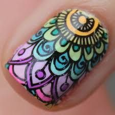 Hi guys, I'm severely addicted to mandala designs, it's like the only thing I wanna stamp and doodle right now, they're just so detailed, complicated and beautiful. For today's post I'm using one of. Gradient Nail Design, Gradient Nails, Love Nails, Pretty Nails, My Nails, Glam Nails, Beauty Nails, Henna Nails, Mandala Nails