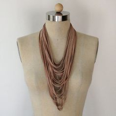 Buff Pink Leather Uni Loop Necklace   Ready to ship by threehorses, $158.00